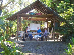 Learn Spanish in Costa Rica here in the garden of the beautifull school in Turrialba