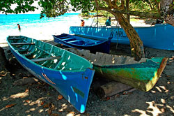 Fishing boats at the beach in Puerto Viejo, Costa Rica