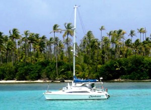 Sailing catamaran in Bocas del Toro