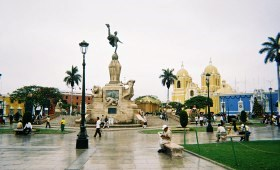 Cathedral and central park in Trujillo