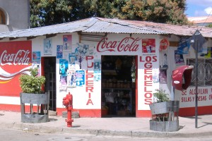 People like to paint walls here, Shops have advertisements painted on the walls in Nicaragua.